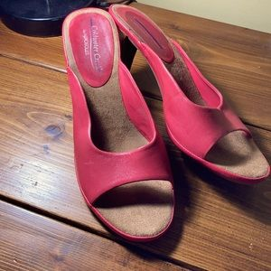 Cold water creek pink heeled sandals